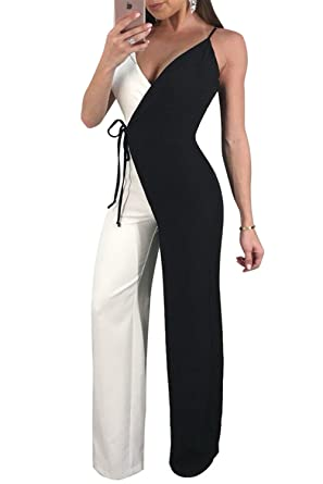 8cbf2aa28c3 Amazon.com  Chicmay Womens Jumpsuits Sexy V Neck Sleeveless Color Block Wide  Leg Long Pants Jumpsuits with Belt  Clothing
