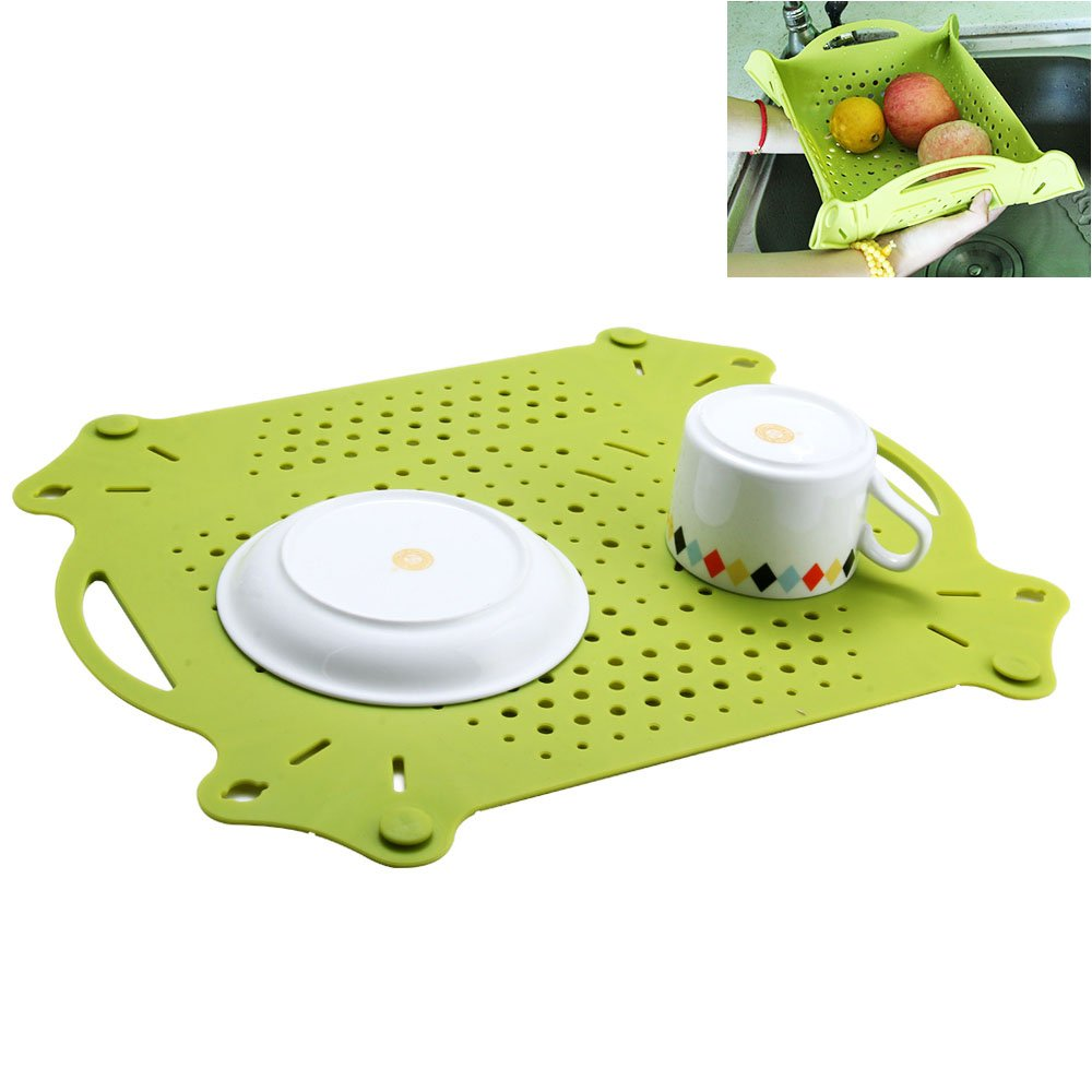 GoZheec Draining Mat Silicone Drying mat Dish Rack Sink Mat Heat Resistant Pot Holder Sink Protector mats
