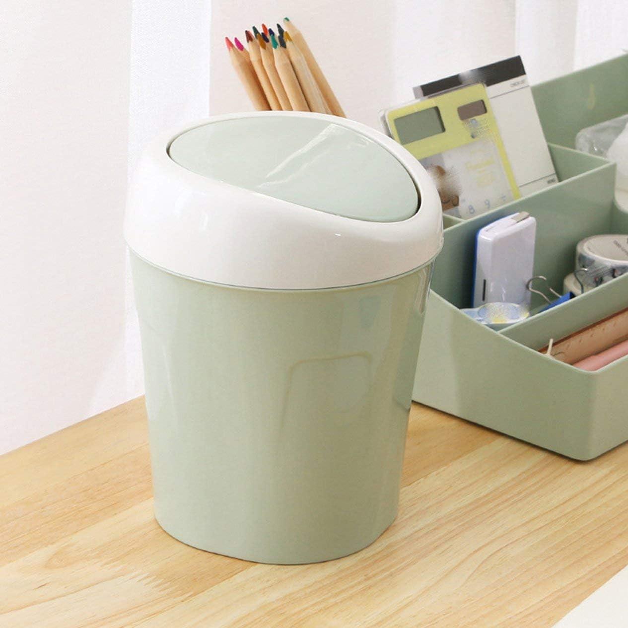 IronHeel Poubelle De Stockage avec Couvercle Poubelle De Bureau Mini Maison Salon Table Flip Poubelle Mode Petit Frais Vert