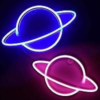 2Pack Planet Neon Light LED Neon Planet Light Sign Wandlamp Art Decor Batterij of USB-gestuurd voor Home Party Bar…