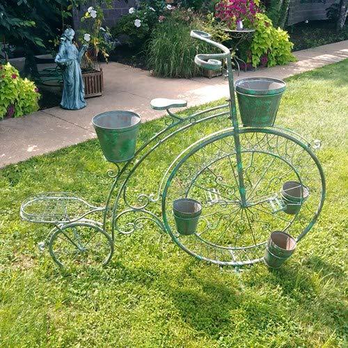 (High Wheel Bicycle Planter Plant Stand in Verdi Green Outdoor Garden Decor)