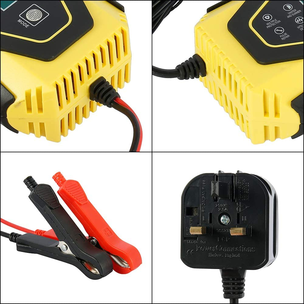 12V 24V 7-Step Intelligent Automatic Lithium Battery Charger//Maintainer with LCD Screen and Multi Charging Mode UK Plug for Cars Motorcycles Boat Keyohome Car Battery Charger and Maintainer