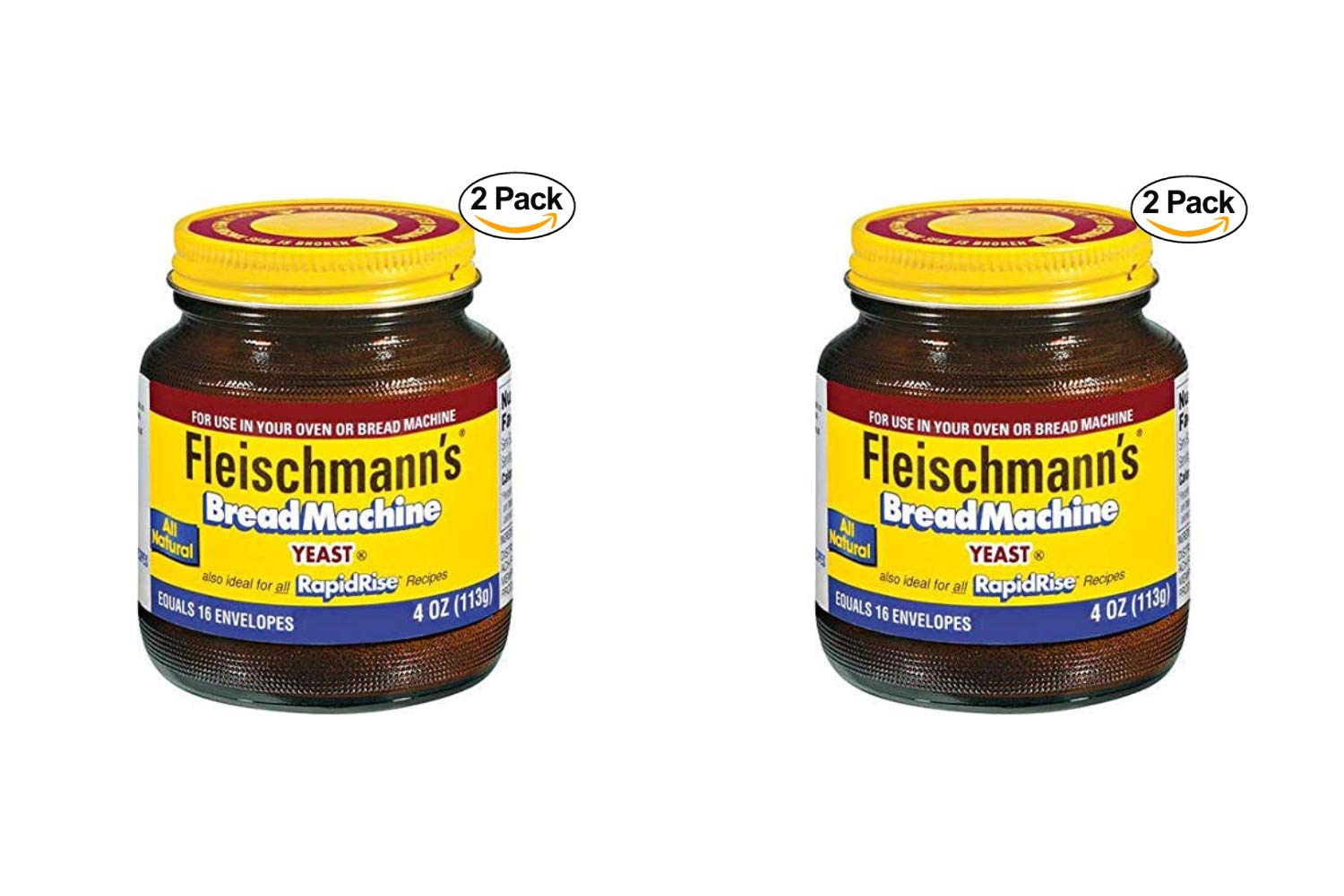 Fleischmann's Bread Machine Yeast, Also Ideal for All Rapid Rise Recipes, Equals 16 Envelopes, 113 Grams Jar (Pack of 2) (2 Pack)