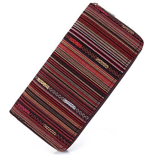 Fabric Wallet Clutch - SANSARYA Boho Women Wallet Zip Hippie Long Purse Aztec Tribal Ladies Clutch Wallets Card Holder (WovenCoffee)