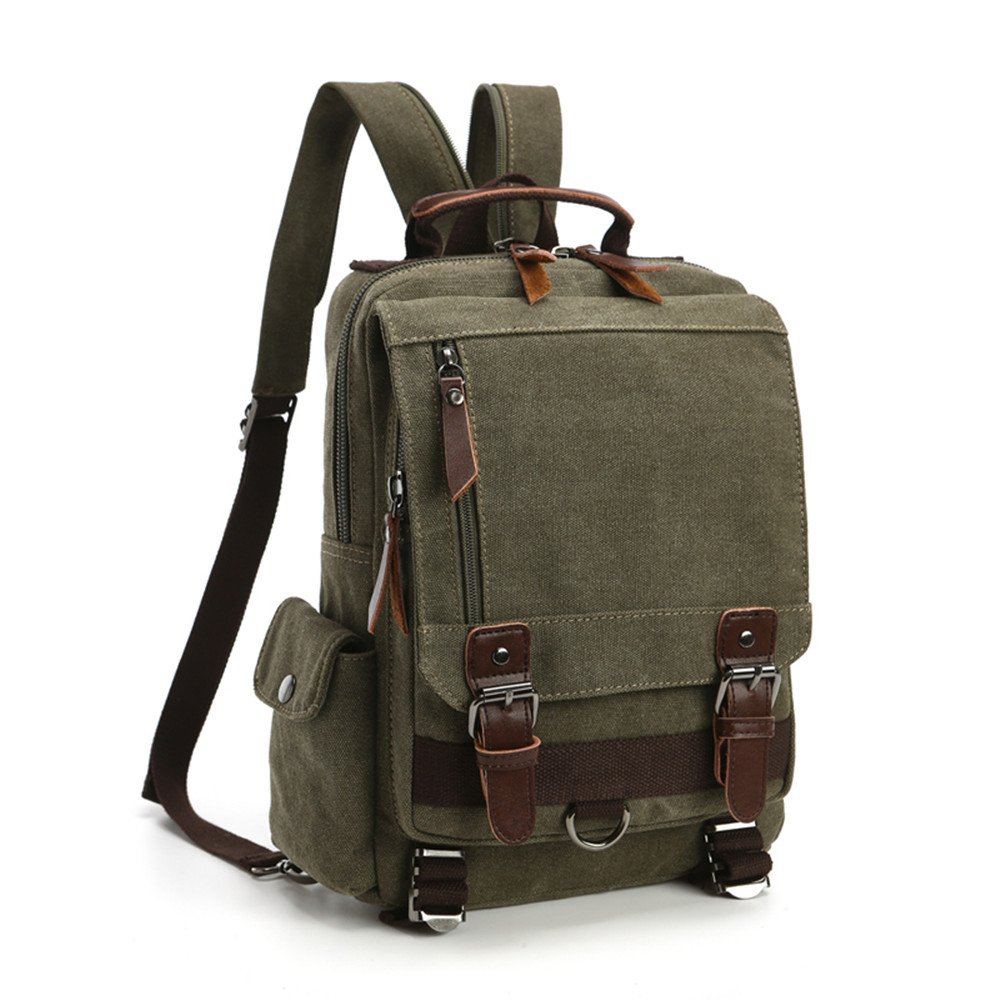 LOSMILE Mochila Hombres Mujer Lona Bolso de Bandolera La Bolsa de Mensajero Bolsa de Lona Bolsa de Hombro Messenger Bag Backpack. (Verde)
