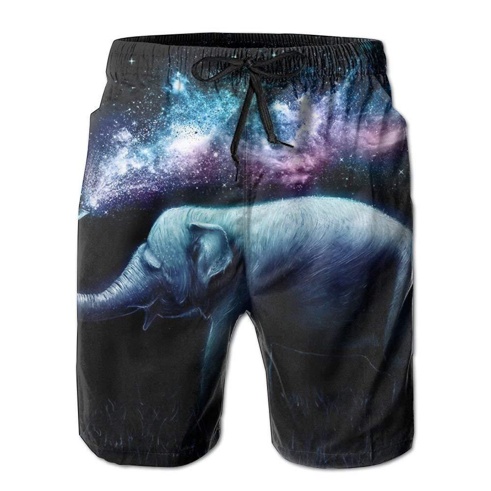 MIGAGA Magic Elephant Mens Beachwear Gym Boardshorts Quick Dry Swimming Trunks