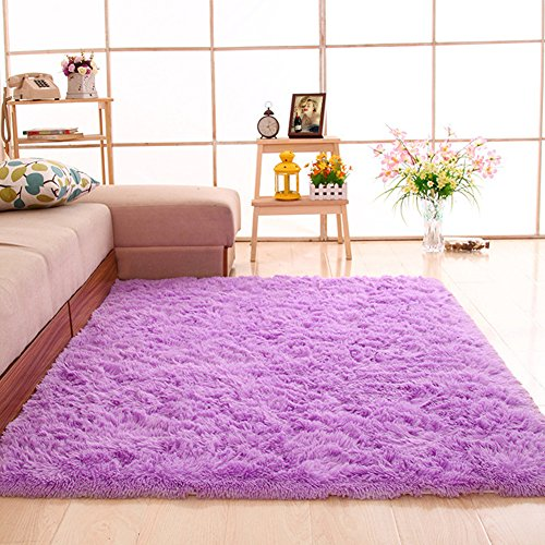 gdmgdr Ultra Soft and Fluffy Nursery Rugs 4cm High Pile Area Rugs for Bedroom and Living Room 4' x 5.3', Purple ()
