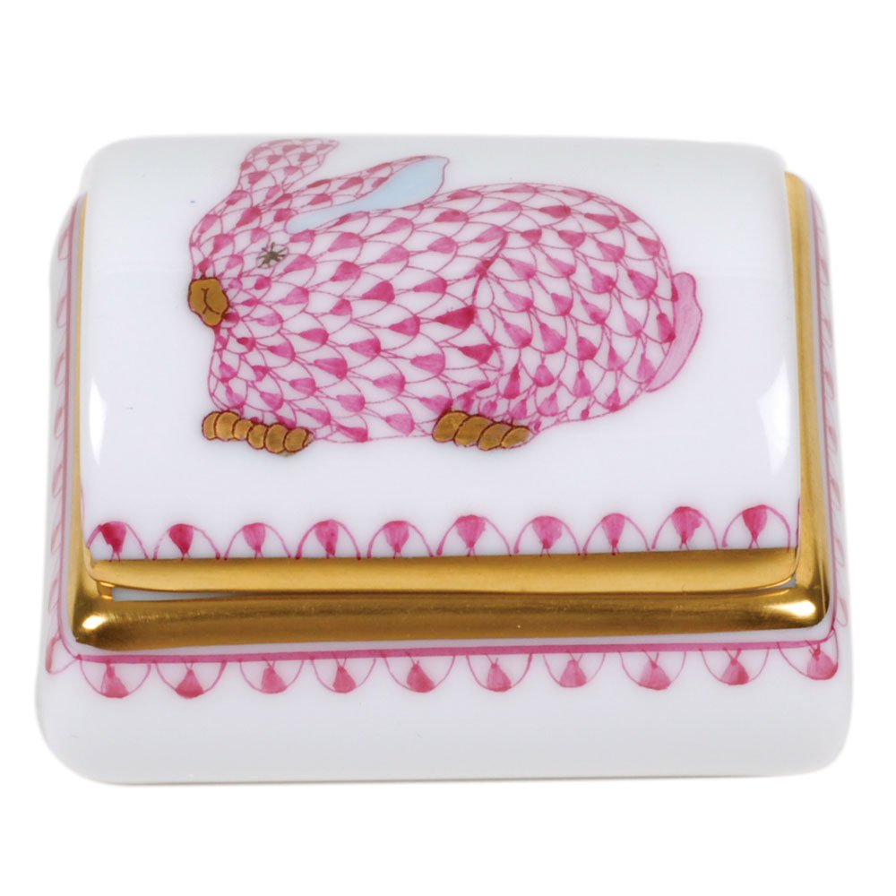 Herend Tooth Fairy Box Pink Bunny Fishnet by Herend
