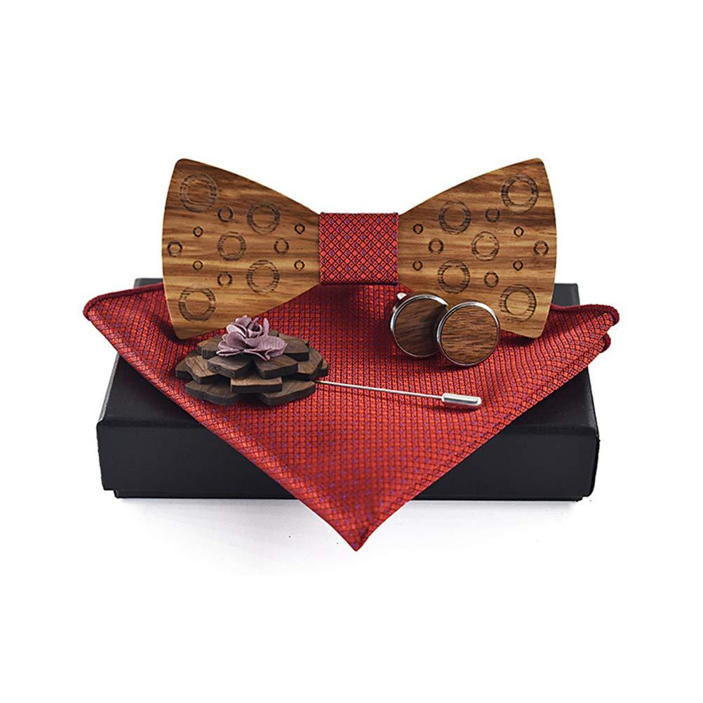 BLH Mens Wooden Bow Tie Classic Handmade Small Circle Pattern Adjustable Bowtie Handkerchiefs Cufflinks Brooch Set