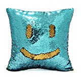 "ICOSY Mermaid Pillow Case 16""x16"" Magic Reversible Sequins Pillow Covers(Lake Blue/Gold)"