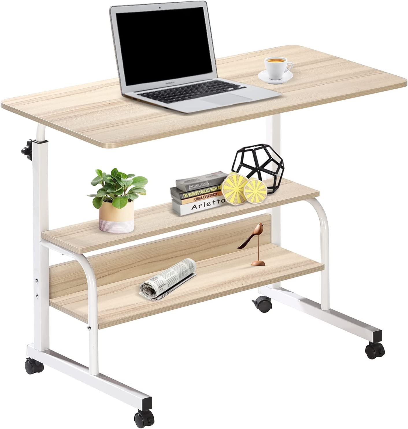 Computer Desk Home Office Student Writing Standing Desk with Storage, Kids Study Desk Laptop Table for Small Space, Small Portable Stand Up Desk for Home Bedroom, Adjustable Rolling Desk 32x16 inch