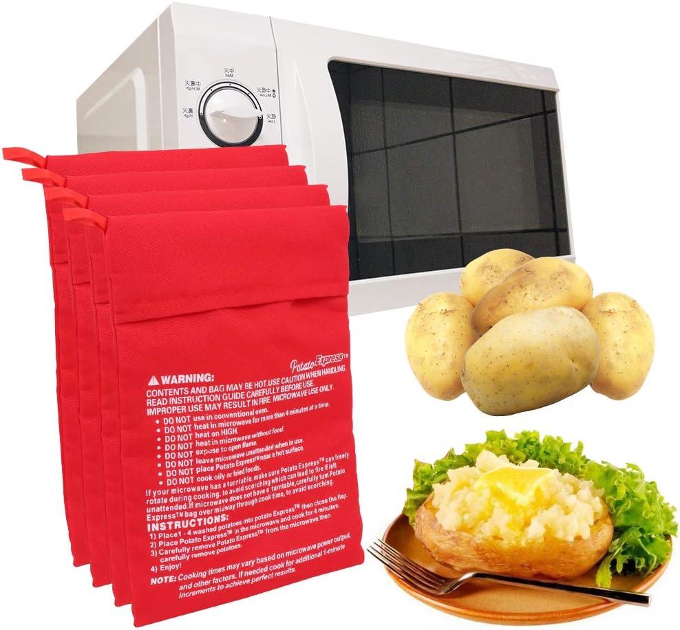 4 Piezas Bolsa de Papa para Microondas,Patata Microondas BolsaLavable Reutilizable Bolsa de Cocina Ideal para Comida Rojo