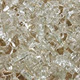 "High Luster, 1/4"" Reflective Tempered Fire Glass in Platinum Moonlight, 10 Pound Jar, by Celestial Fire Glass …"