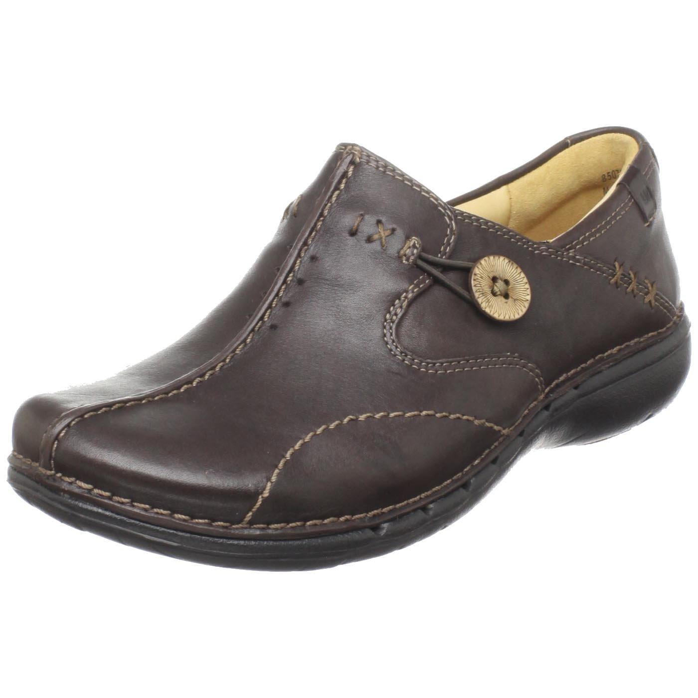 Clarks Unstructured Women's Un.Loop Slip-On,Brown Leather,9 N US