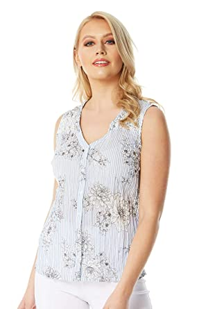 4189887d94b Roman Originals Women 100% Cotton Stripe and Floral Print Crinkle ...