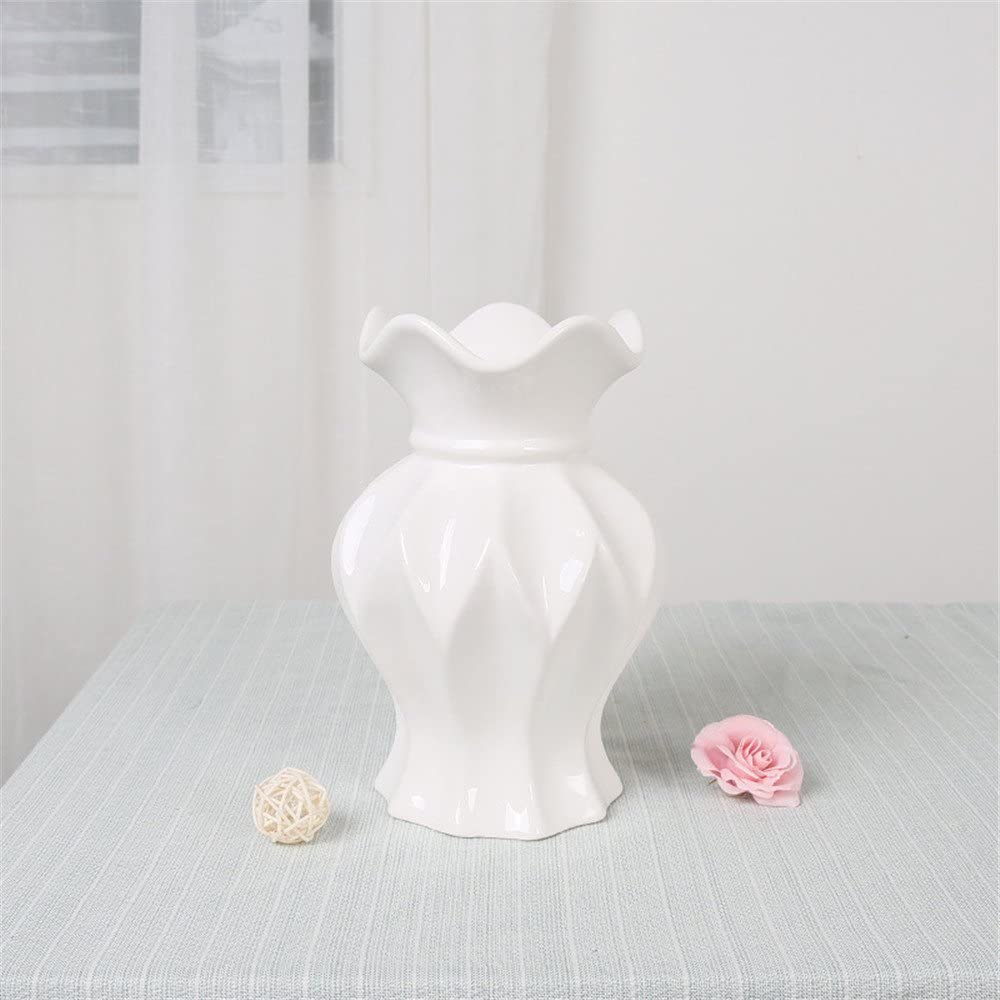 Living Room Wine Cooler Tv Cabinet Ceramic Vase, White, Small Size 22Cm For Centerpieces Living Room Christmas Birthday Wedding Party Gift Desktop Home Decor