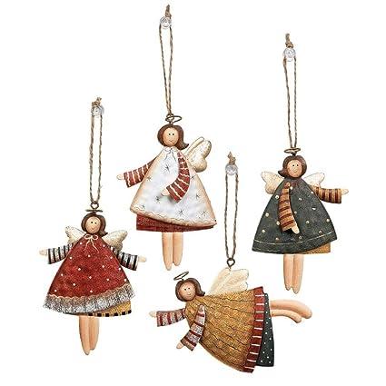 lot of 12 dancing tin angels christmas tree ornaments - Angel Christmas Tree Ornaments