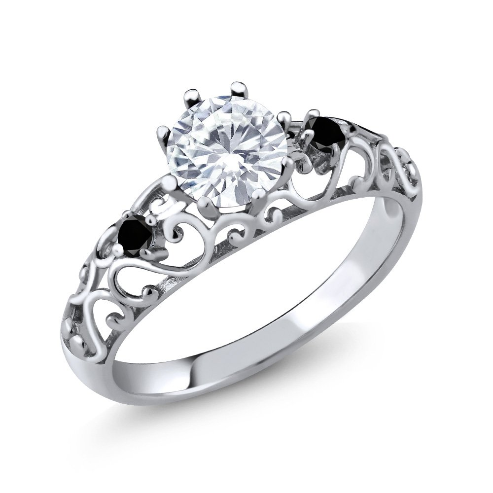 0.79 Ct Round White Created Moissanite Black Diamond 925 Sterling Silver Ring