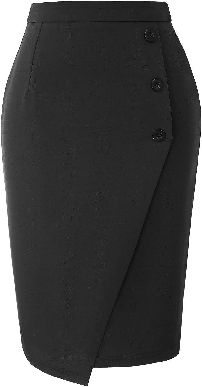 GRACE KARIN Women's Elastic Waist Stretch Bodycon Midi Wear to Work Pencil Skirt