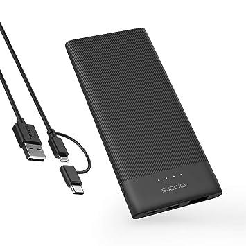 Omars Batería Externa 5000mAh Cargador Portatil Super Ligero 3 Salidas(2 USB&USB C 5 V
