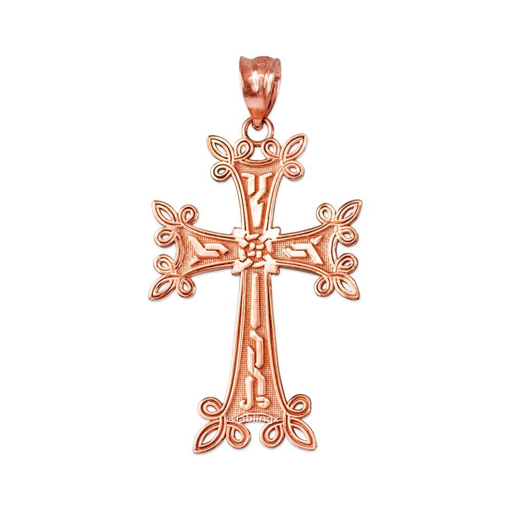 LA BLINGZ 14K Rose Gold Armenian Reversible Cross Pendant Necklace