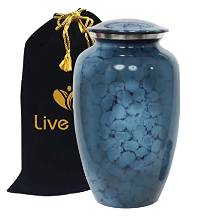 GiftsnMemories Classic Denim Cloud Blue Cremation Urn for Human Ashes – Adult Funeral Urn Handcrafted – Affordable Urn for Ashes – Large Urn Deal