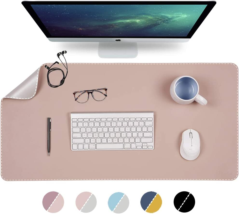 "Knodel Desk Mat, Office Desk Pad, 31.5"" x 15.7"" PU Leather Desk Blotter, Laptop Desk Mat, Waterproof Desk Writing Pad for Office and Home, Dual-Sided (31.5"" x 15.7"", Pink/Silver)"