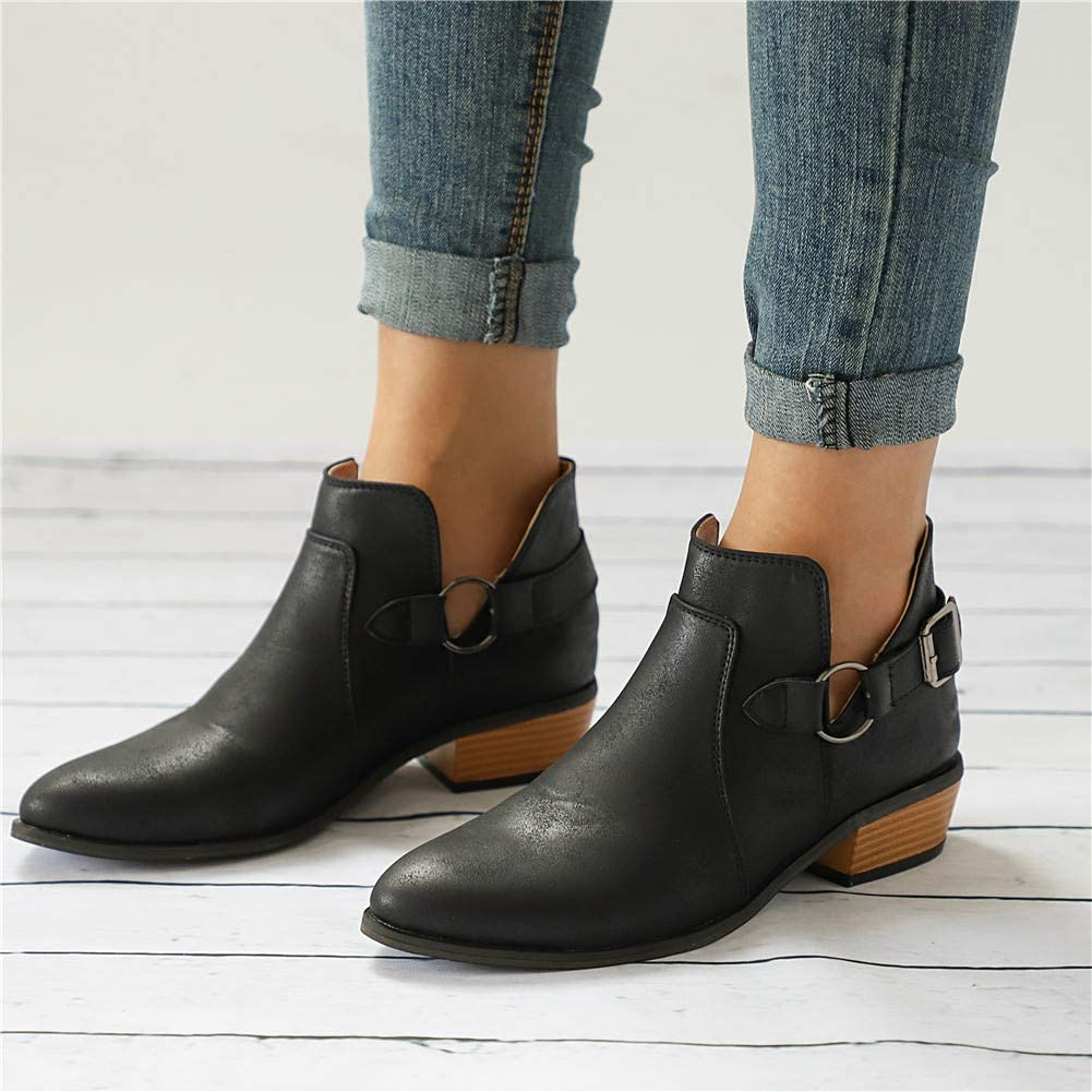 Mid Heel Shoes Women Leather Block Chunky Heeled 4 cm Ankle Boots Summer Loafer Flat Leopard Print Zip Casual Comfortable Black Grey Brown Red 3-7