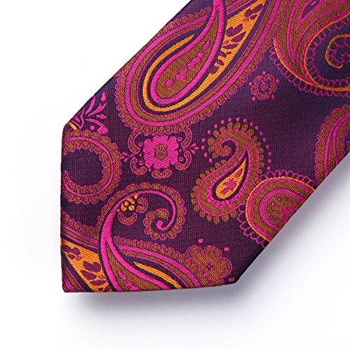 Tie HISDERN Orange Floral Pocket Hot Square Men's Set Handkerchief amp; Paisley Wedding Blue Necktie Pink 6rUqZr