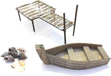 Miniature Dollhouse FAIRY GARDEN Fairy Swamp Boat With Lantern Accessories