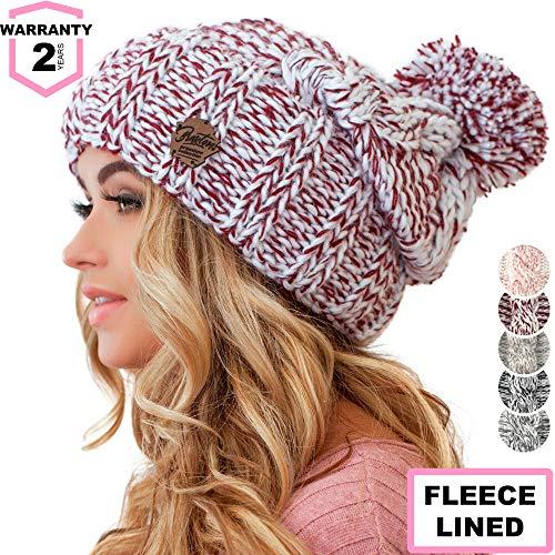 Braxton Women Pom Pom Beanie - Winter Warm Burgundy Fleece Skull Hat - Wool Snow Slouchy Ski Cap