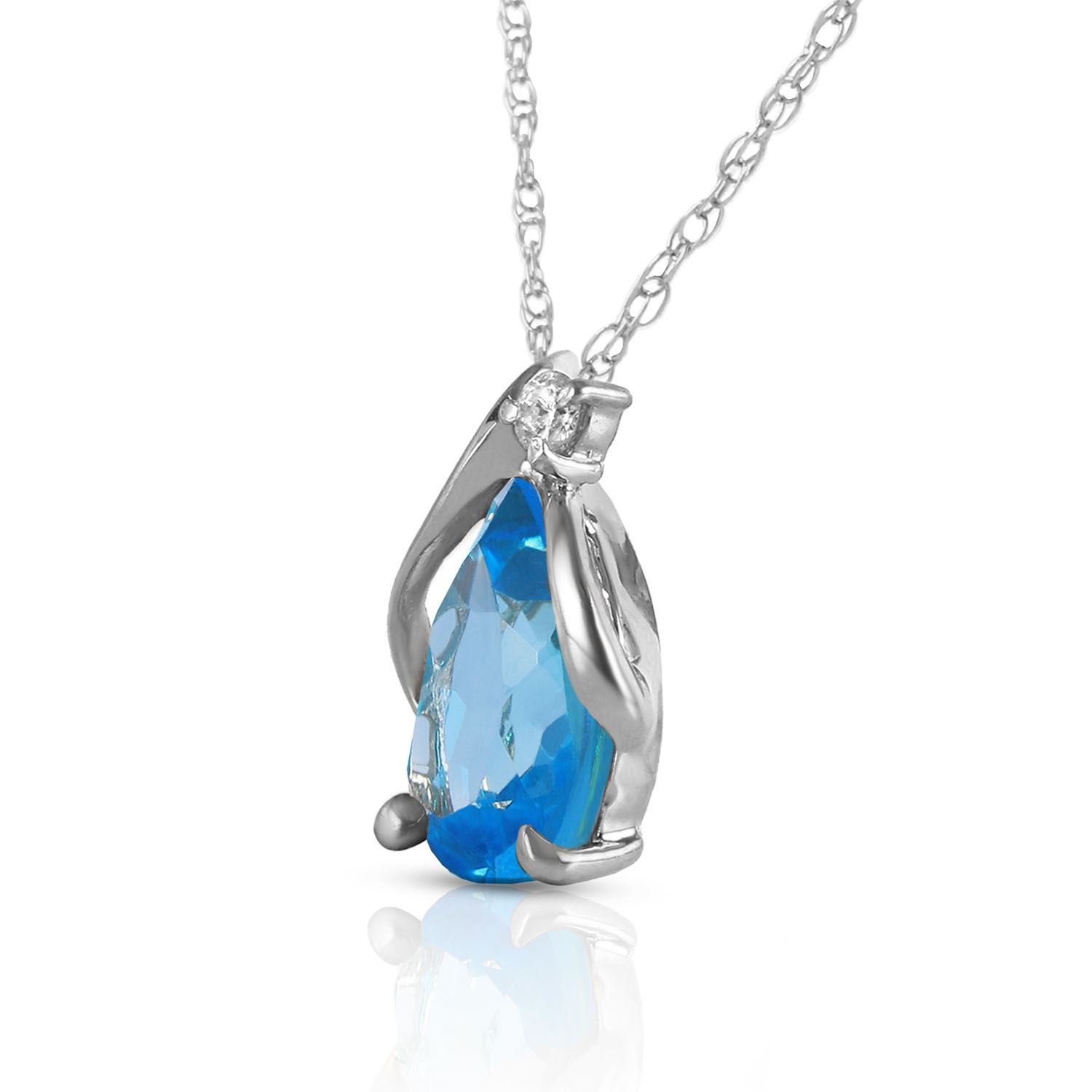 ALARRI 2.53 Carat 14K Solid White Gold Necklace Diamond Blue Topaz with 24 Inch Chain Length