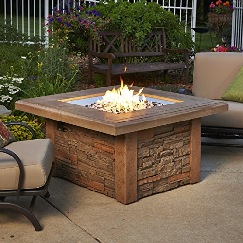 Outdoor Great Room Sierra Crystal Fire Pit Table with Ledgestone Base, Mocha Supercast Square Top and Square Burner