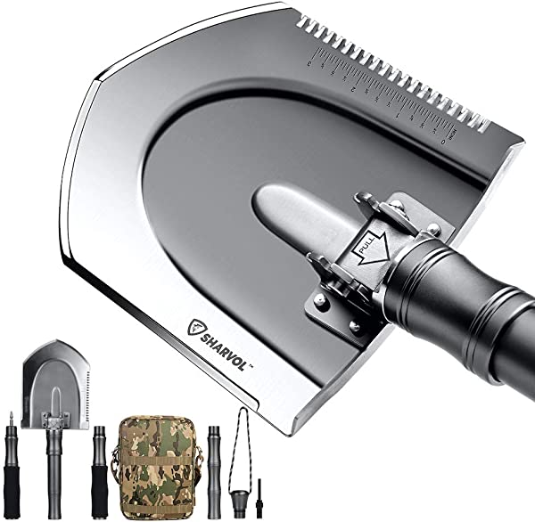 Sharvol Survival Shovel Multitool with Instant Switch Mechanism - Tactical Shovel for Camping, Survival Gear, Prepper Gear, Offroading - Lightweight