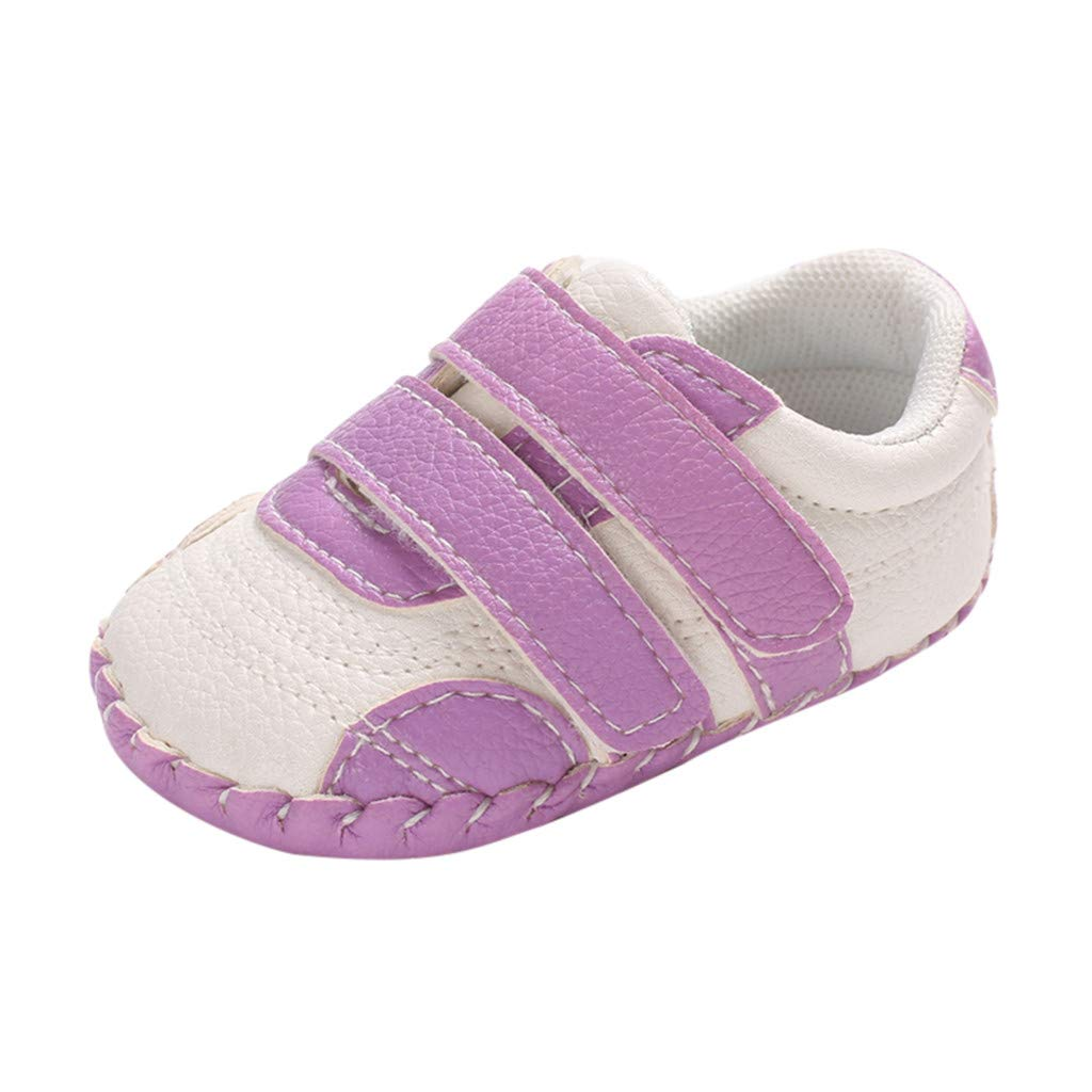 NUWFOR Infant Newborn Baby Girls Boy Prewalker Non-Slip Soft Sole Gym Shoes (Purple,6~12 Month)