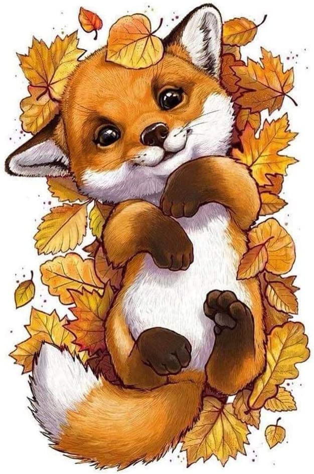 DIY 5D Diamond Painting Kits for Adults,Cartoon Fox Animal Crystal Embroidery Diamond Art Crafts Painting, Perfect for Home Wall Decor Full Crystal Picture for Beginner Canvas Diamond Dots 12x16in