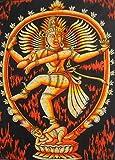 Dancing Shiva as Nataraja Batik Wall Painting Tapestry: 30''x40'' Inches