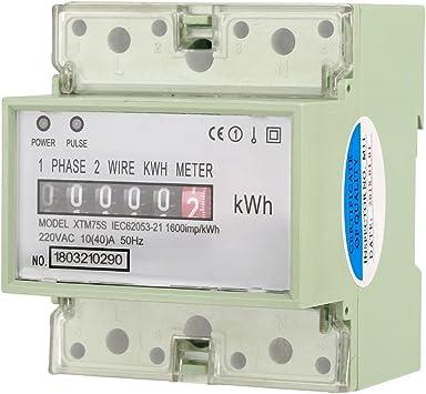 40 Professionelle 220 V 10 A Digitale 1-phasige 2 P DIN-Schienen-Stromz/ähler Elektronische KWh-Meter RS485