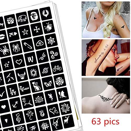 Stencils 63 pics Henna Tattoo Stencils DIY Drawing Airbrush Mehndi Body Art Small Animals Tatoo Stencil Jagua Templates