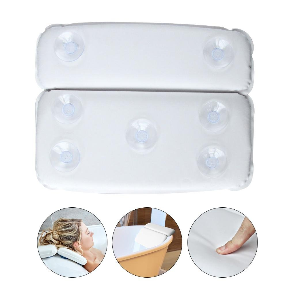 Aolvo Spa Tub Pillows, Non Slip Premium Bathtub Pillow with 7 Suction Cups for for Men, Women, Adults, Kids and Baby - Anti-Mold & Waterproof - for Back, Neck and Head Support in the Bathtub