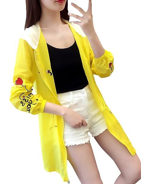 bb2340948e2ecf Sommerjacke Damen Elegante Embroidery Riemchen Langarm Spleiß Mantel mit  Reißverschluss mit Kapuze Casual und Lange Abschnitte