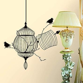 Pájaros Creativos Jaula Rama De Árbol Calcomanías De Pared Negro ...