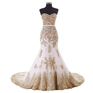 Mermaid Wedding Dresses Lace Gold Applique Stapless Lace-up Beach Bridal  Dress Wedding Gowns 2019 at Amazon Women s Clothing store  d77fdf134