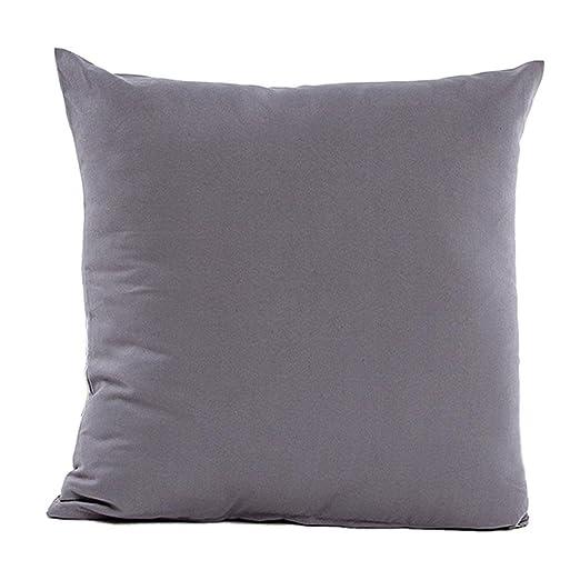 Globeagle Funda de cojín de color liso para sofá (gris)