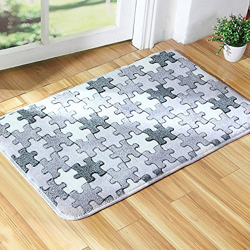 HANYUN Home Kitchen Bathroom Coral Velvet Non-slip Door Mats Area Rug Carpet 40cm x 60 cm Jigsaw