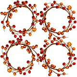 4 Pack Fall Candle Rings with Artificial Orange Berries Mini Berry Twig Wreath Candle Wreath Berry Rings 6' Wide for Thanksgiving Fall Wedding Rustic Seasonal Decoration