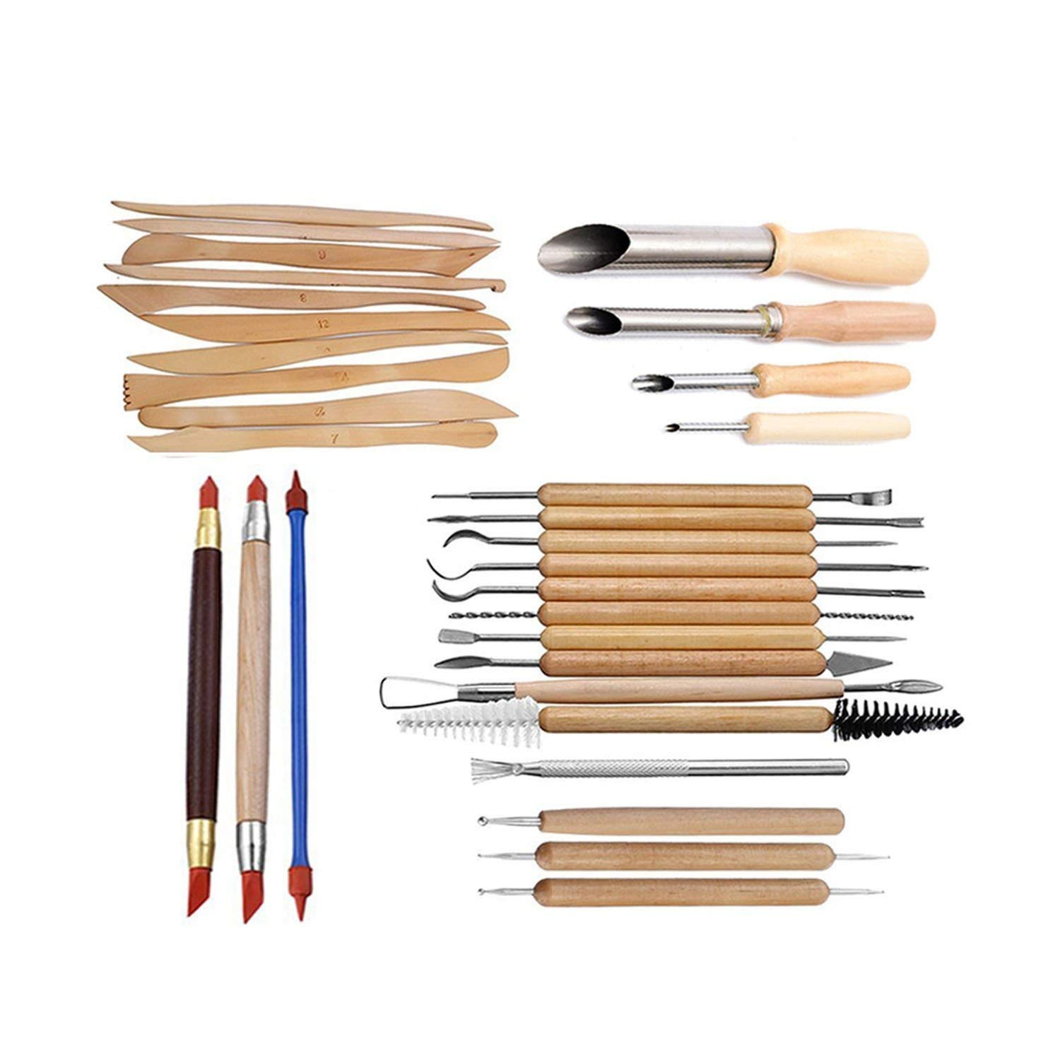 Pottery Clay Sculpture Tool Indentation Silicone Pen Sculpture Knife Set Combination,31 Piece Set
