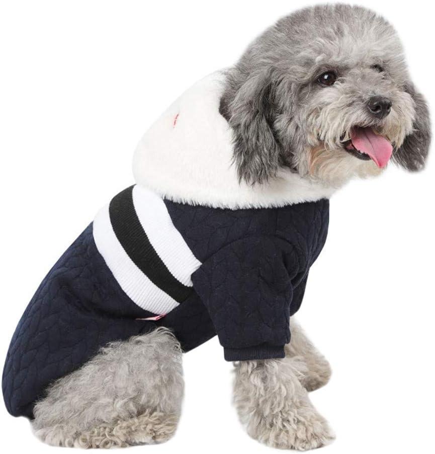 Kapuzen Hundemantel Pullover mit Coral Fleece Warm Haustier Kleidung Winterpullover Hundekleidung f/ür Kleine Hunde H/ündchen K/ätzchen BBring Gestreift Hoodie f/ür Katzen Hunde