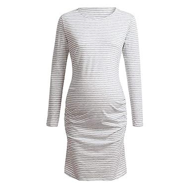 56274eed4e489 GoodLock Women Maternity Nursing Dresses Wraped Ruched Pregnant Striped 3/4  Sleeve Dress (Gray