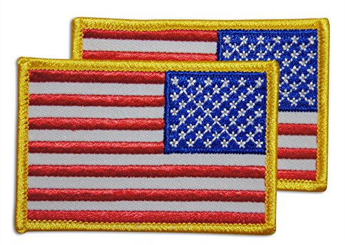 2-Piece Reverse American Flag Patch Sew or Iron On by Novel (Reverse American Flag Patch)